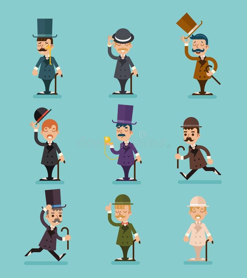 As poses diferentes dos caráteres vitorianos do cavalheiro e os ícones das ações ajustados isolaram a ilustração lisa do vetor do ilustração do vetor