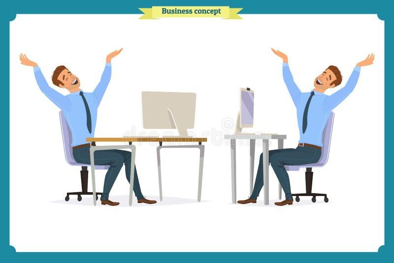 As poses masculinas do trabalhador de escritório que sentam-se no computador com a tabuleta que tem personagens de banda desenhad ilustração do vetor