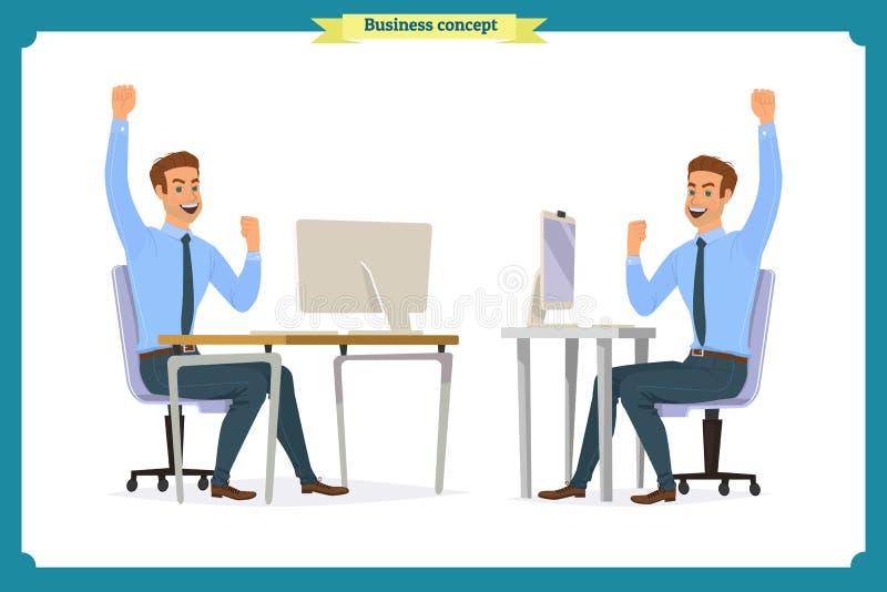 As poses masculinas do trabalhador de escritório que sentam-se no computador com a tabuleta que tem personagens de banda desenhad ilustração royalty free