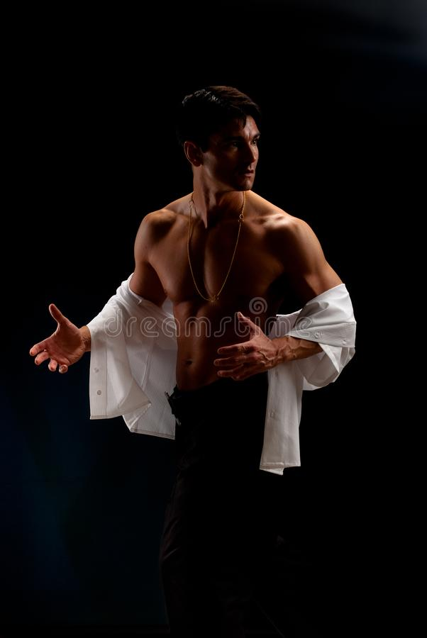 As poses 'sexy' do homem para uma fotografia foto de stock royalty free
