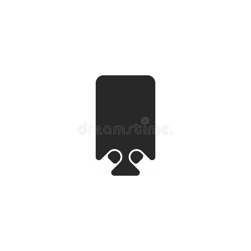 As posições verticais de um smartphone com um dispositivo vazio preto da tela vazia guardam as mãos de um homem ou de uma mulher  ilustração royalty free