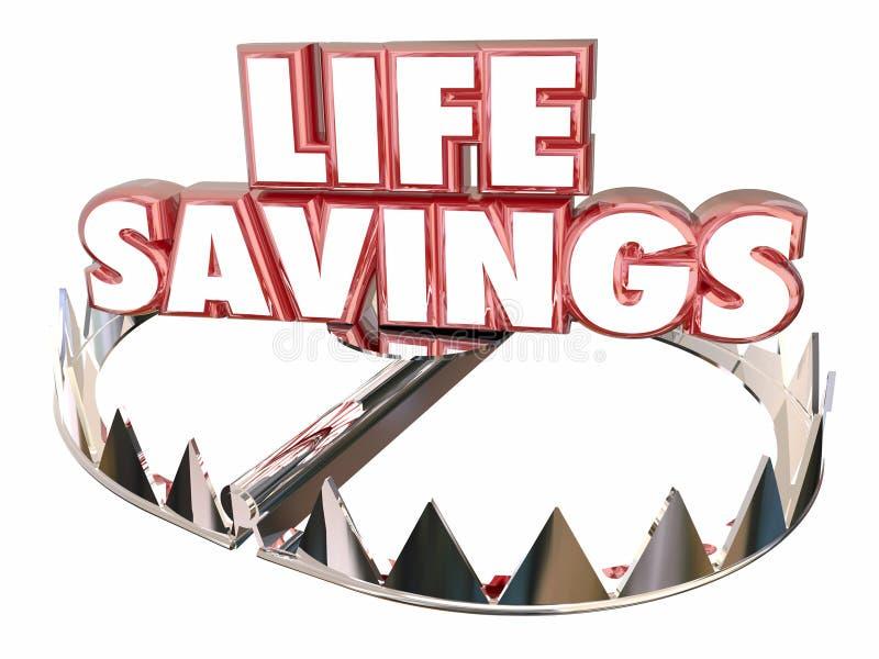 As poupanças de vida protegem a armadilha do urso dos recursos da riqueza do dinheiro ilustração royalty free