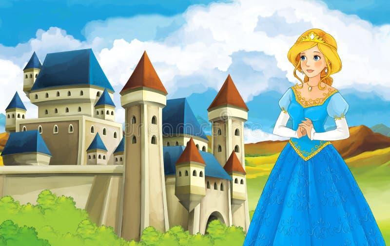 As princesas - castelos - cavaleiros e fadas - Manga Girl bonito - ilustração para as crianças ilustração royalty free