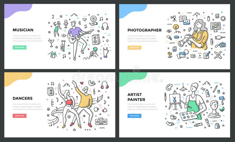 As profissões criativas colorem a linha conceitos ilustração royalty free