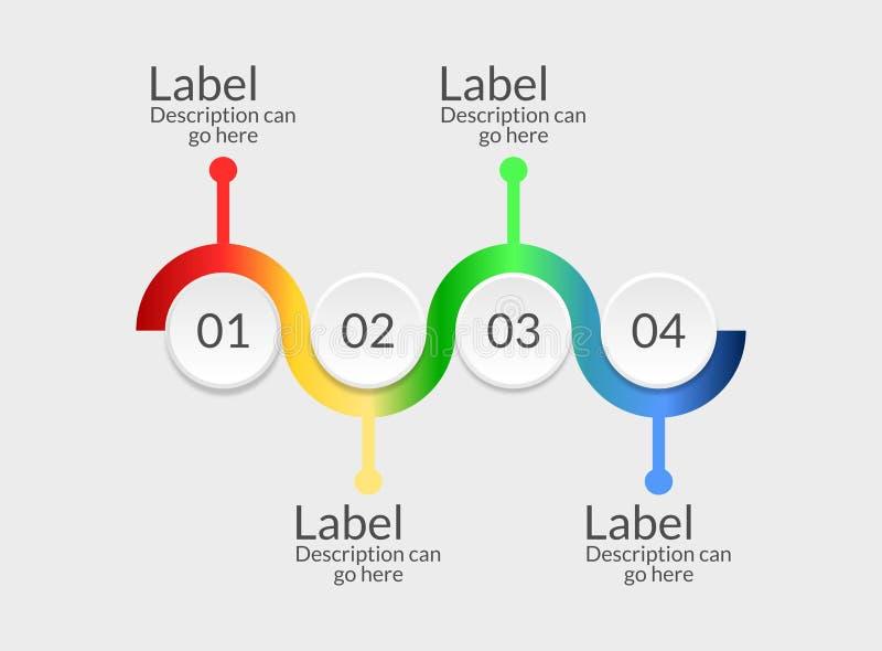 As quatro etapas de um passo a passo criativo moderno do infographics do negócio podem ilustrar estratégias, trabalho ou trabalho ilustração royalty free