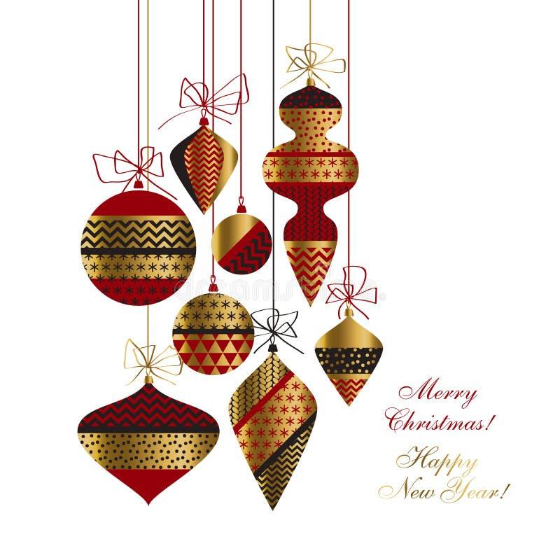 As quinquilharias do Natal ajustaram-se no vermelho, no ouro e no preto ilustração royalty free