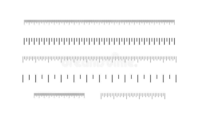 As réguas ajustaram-se, polegadas e centímetros Escala de medição ilustração do vetor