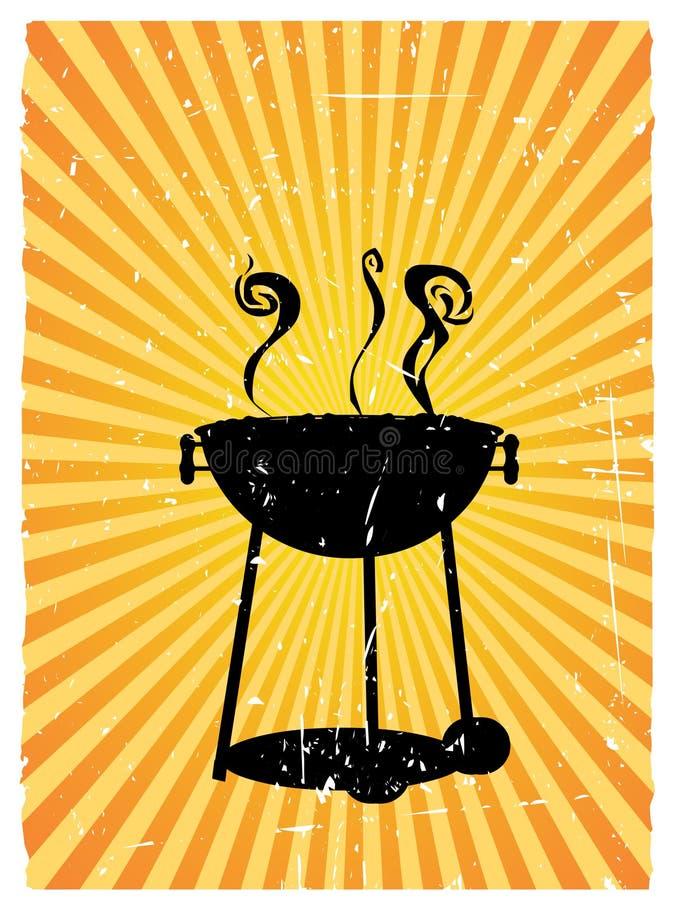 As raias ensolaradas do BBQ da silhueta acentuaram o grunge ilustração royalty free