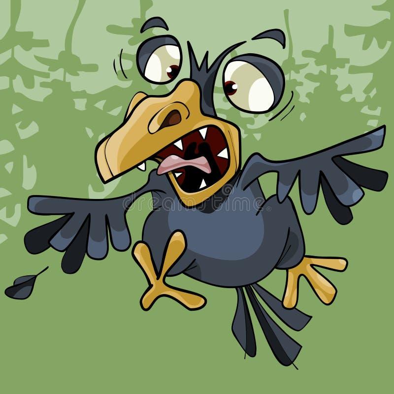 As raivas engraçadas do corvo dos desenhos animados abrem o bico toothy ilustração stock
