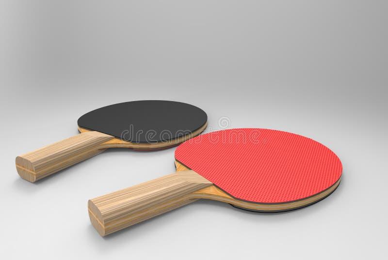 As raquetes de tênis de mesa de madeira rendem fotografia de stock royalty free