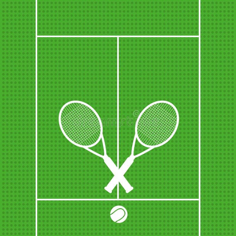 As raquetes de tênis do fundo com bola assinam o vect do símbolo do esporte do ícone ilustração royalty free
