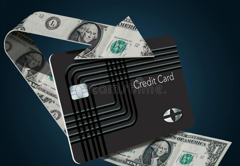 As recompensas traseiras do cartão de crédito do dinheiro são ilustradas aqui com uma seta dando laços feita das notas de dólar q ilustração stock