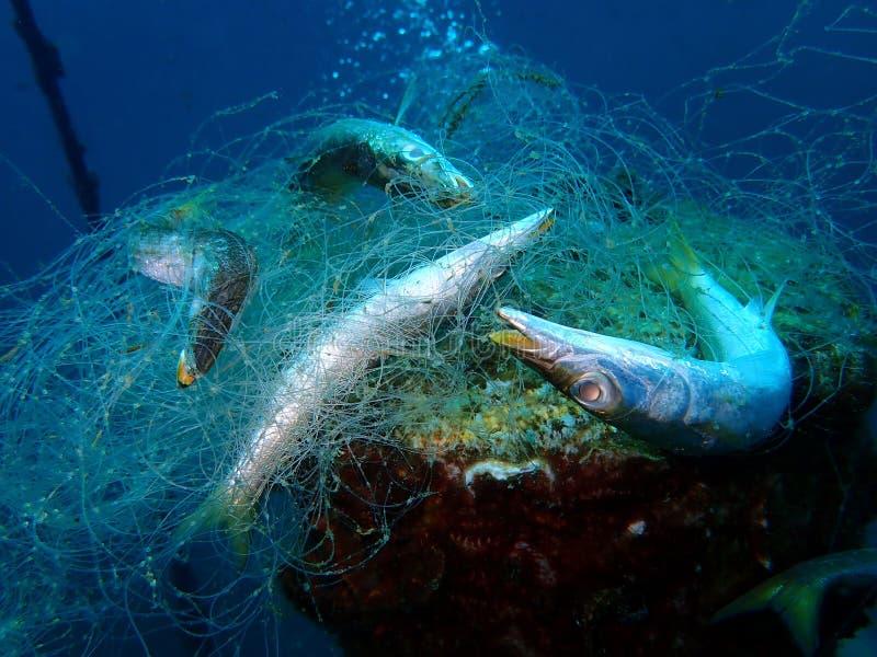 As redes de Ghost são as redes de pesca comercial que foram perdidas, abandonadas, ou rejeitadas no mar foto de stock royalty free