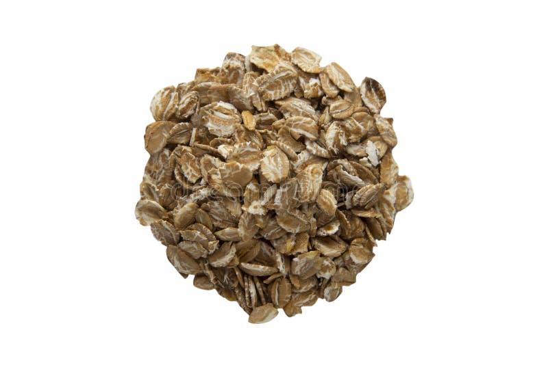 As refeições da aveia, cereais isolaram-se, ingrediente saudável do papa de aveia do café da manhã no backgroud branco Molde para imagens de stock royalty free