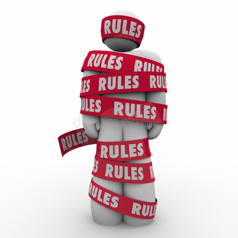 As regras equipam a fita que envolvida a conformidade regulamentar segue leis Guidanc ilustração royalty free