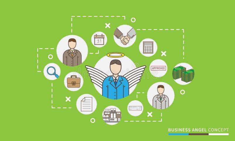 As relações da partida e de acionista do anjo do negócio projetam a ilustração ilustração stock