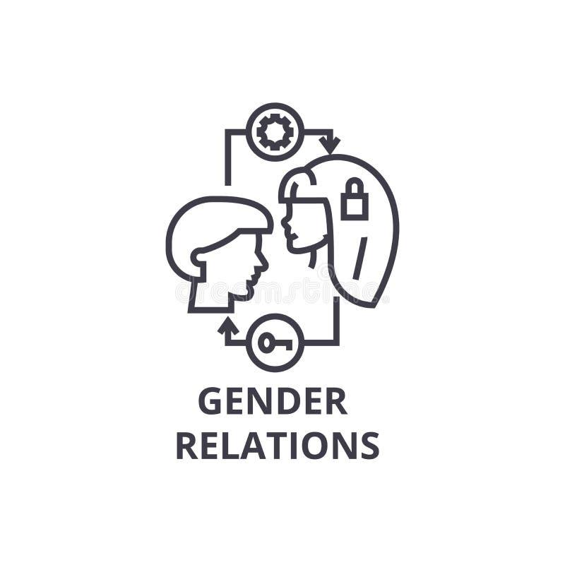 As relações de gênero diluem a linha ícone, sinal, símbolo, illustation, conceito linear, vetor ilustração royalty free
