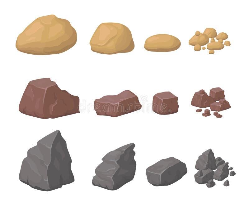 As rochas, pedras ajustaram rochas e minerais denominados vários desenhos animados ilustração stock