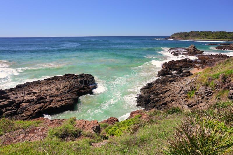 As rochas vulcânicas Kiama tragam NSW Austrália imagens de stock royalty free
