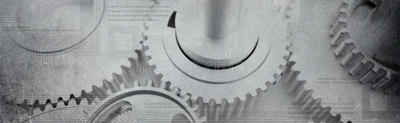 As rodas denteadas amolgadas rodam a bandeira com circuitos technologic do computador fotografia de stock royalty free