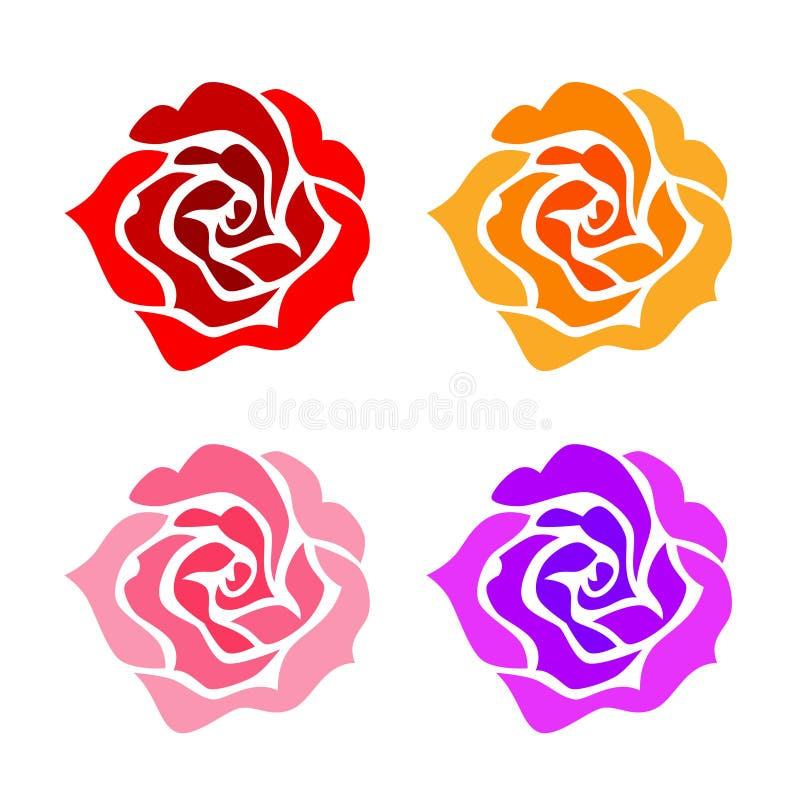 As rosas ajustaram-se ilustração stock