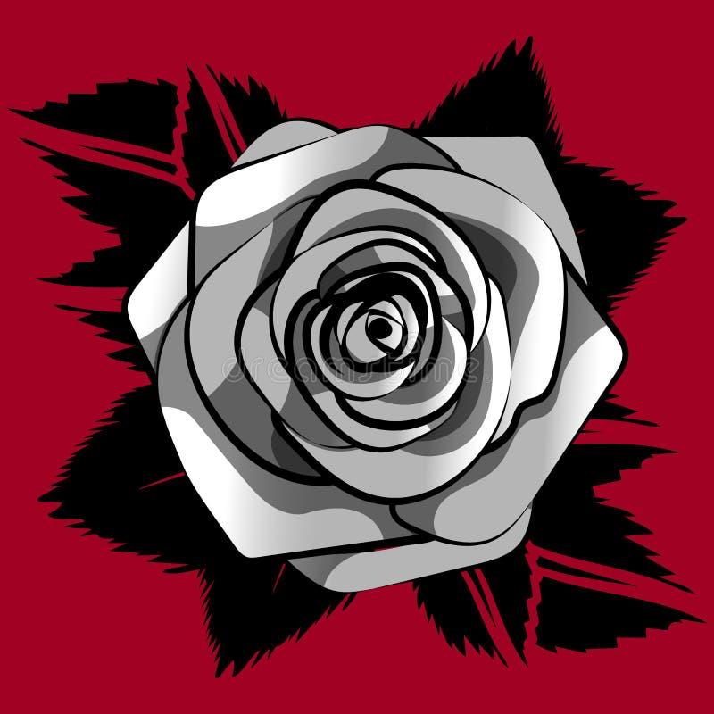 As rosas brancas cinzentas modelam sem emenda com as folhas pretas no fundo vermelho, flor da telha da repetição do vetor ilustração royalty free