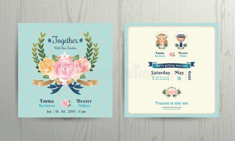 As rosas florais envolvem o cartão do convite dos pares dos noivos dos desenhos animados do casamento ilustração do vetor