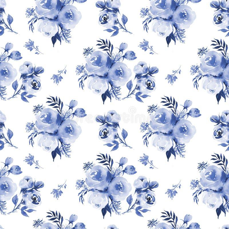 As rosas florescem o teste padrão sem emenda na obscuridade - azul a da aquarela ilustração royalty free
