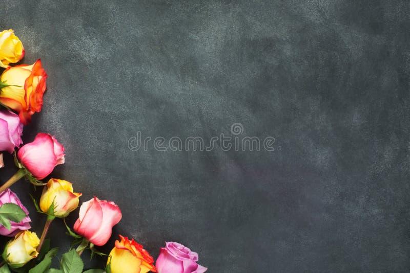 As rosas roxas e amarelas, encaixotam o presente no fundo preto fotografia de stock