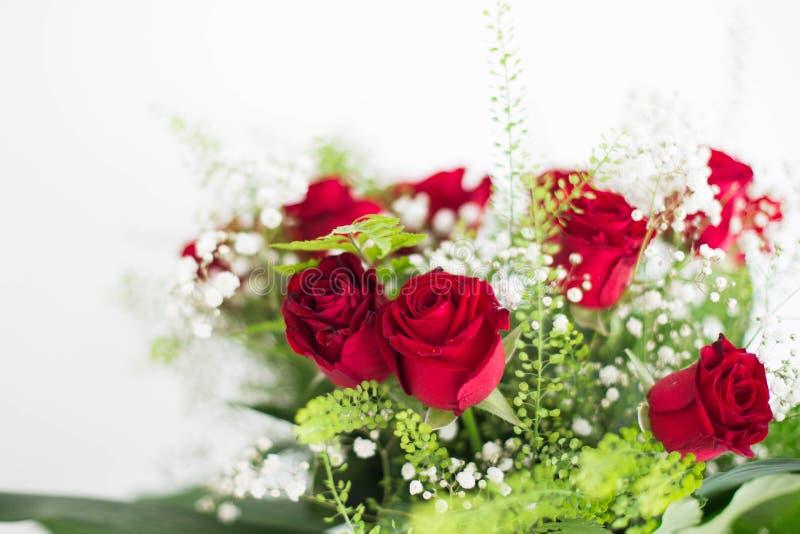 As rosas vermelhas do ramalhete das flores no fundo branco agradecem a lhe e ao cartão do amor imagem de stock