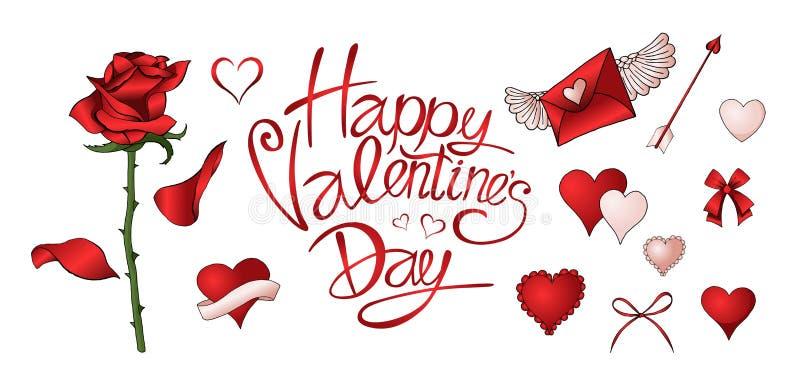 As rosas vermelhas, os corações e outros elementos entregam o grupo colorido tirado ilustração stock