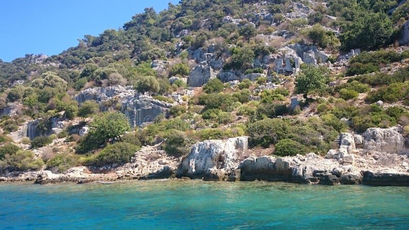 As ruínas afundados na ilha de Kekova Dolichiste da cidade antiga de Lycian de Simena antigo, foram destruídas por um terremoto, fotografia de stock