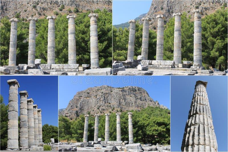 As ruínas da cidade antiga Priene em Turquia Templo de Ártemis imagem de stock