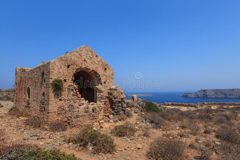 As ruínas da fortaleza Venetian antiga Crete, Greece imagens de stock
