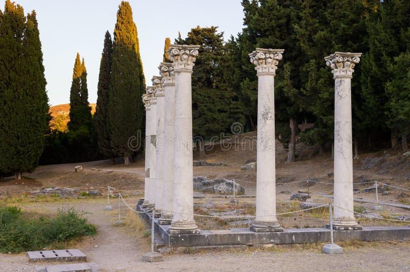 As ruínas de Asclipeion na ilha de Kos, Dodecanese, Grécia, um templo dedicaram a Asclepius, deus da medicina imagem de stock