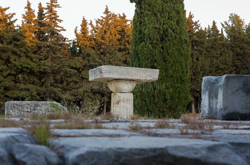 As ruínas de Asclipeion na ilha de Kos, Dodecanese, Grécia, um templo dedicaram a Asclepius, deus da medicina fotografia de stock royalty free