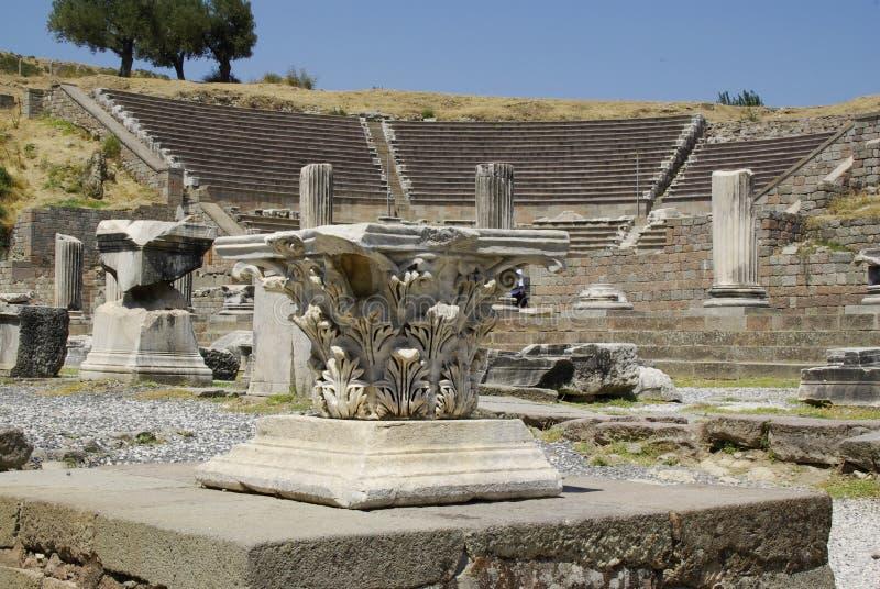 As ruínas de Pergamon, lugar de nascimento de Hippocrates fotos de stock royalty free