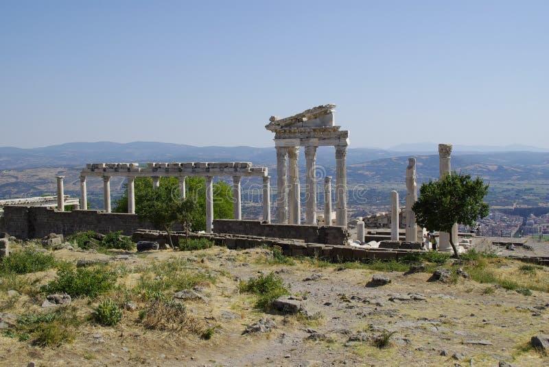 As ruínas de Pergamon, lugar de nascimento de Hippocrates imagem de stock royalty free