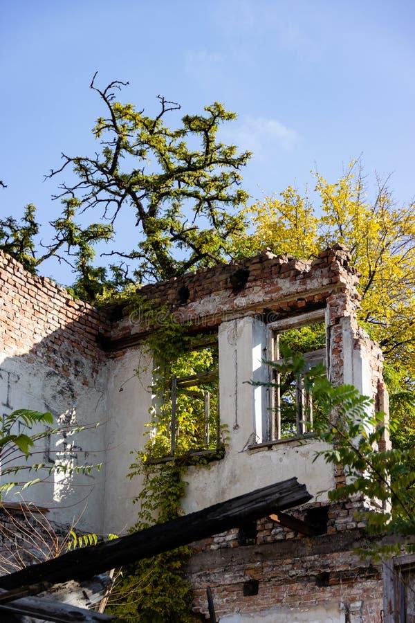 As ruínas de uma casa antiga queimada da pena Dnipro, Ucrânia, em novembro de 2018 imagem de stock royalty free