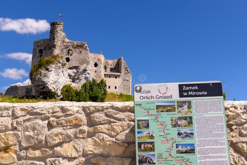 As ruínas do castelo na vila de Mirow, um dos castelos medievais chamados ninhos de Eagles arrastam fotos de stock royalty free