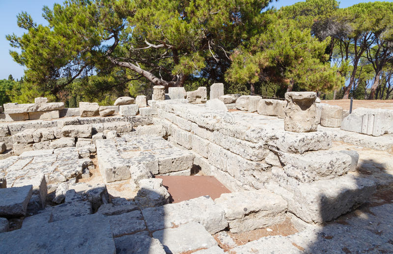 As ruínas do templo de Athena Polias no Filerimos Rhodes Greece Europe imagem de stock