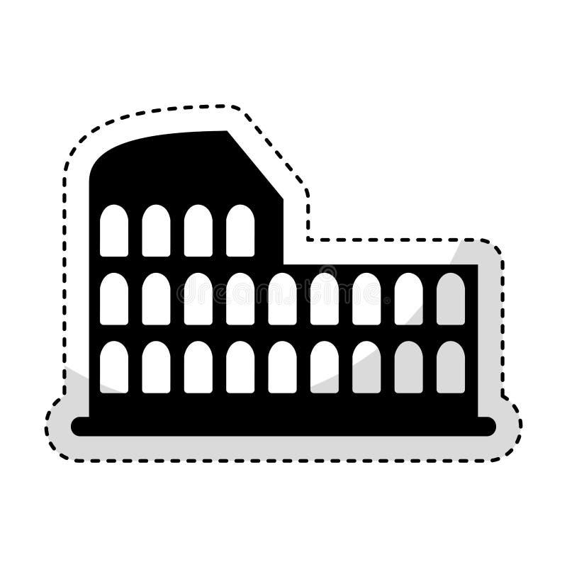 As ruínas romanas do coliseu isolaram o ícone ilustração stock
