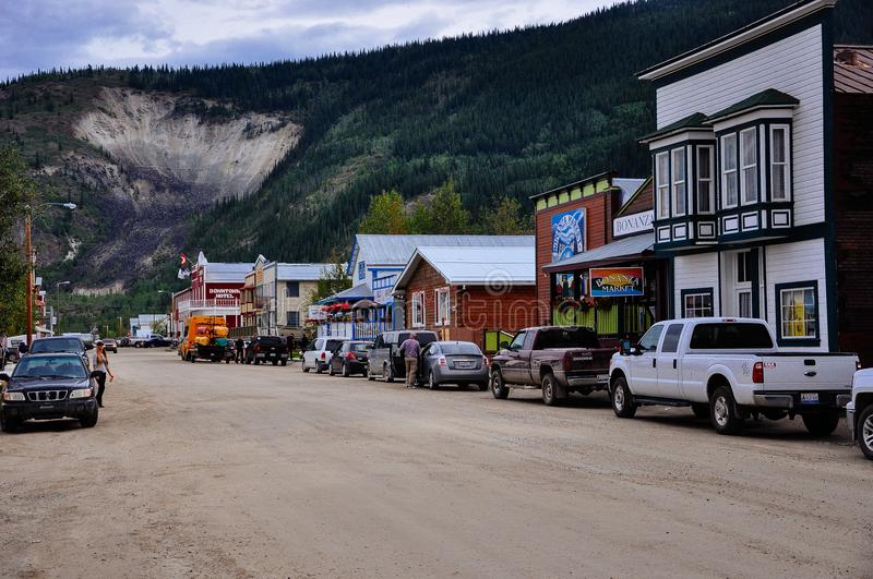 As ruas de Dawson City, Yukon fotos de stock royalty free