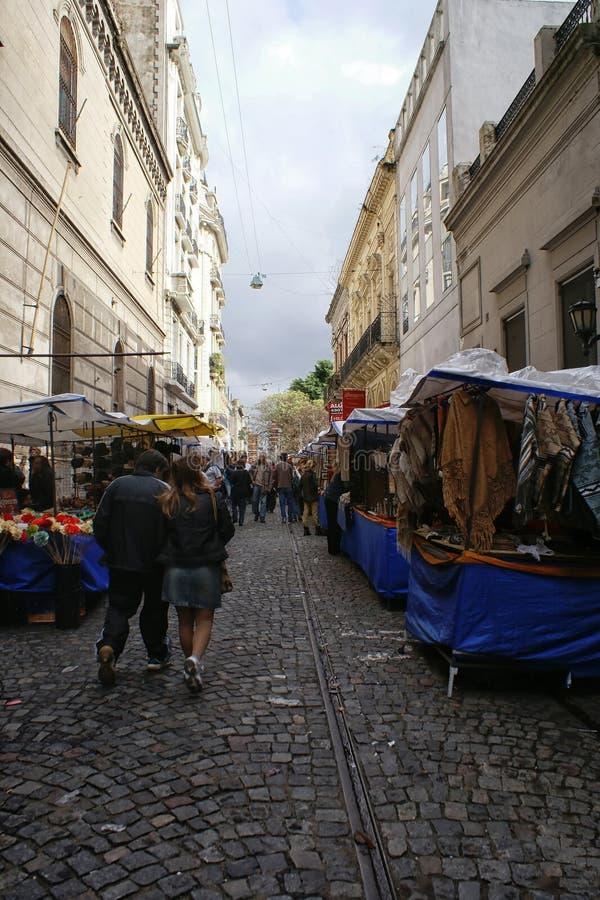 As ruas de San Telmo em Buenos Aires fotografia de stock