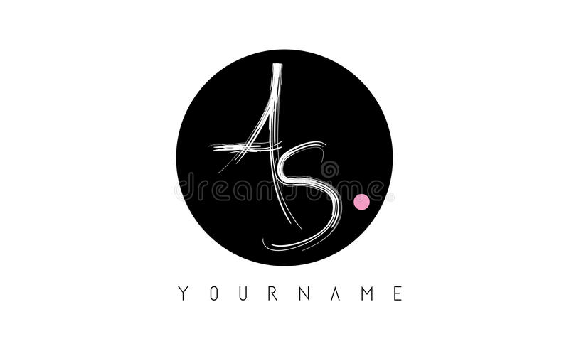AS A S Handwritten Brushed Letter Logo with Circular Black Circle. AS A S Handwritten Brushed Letter Logo Design with Circular Black Circle and Pastel Pink Dot royalty free illustration