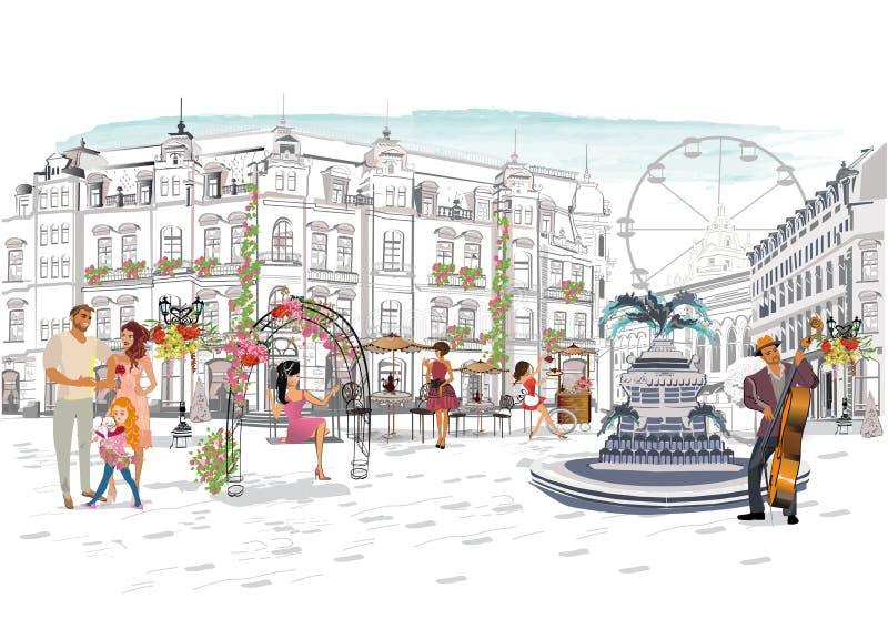 As s?ries dos caf?s da rua com povos da forma, homens e mulheres, na cidade velha, vector a ilustra??o ilustração royalty free