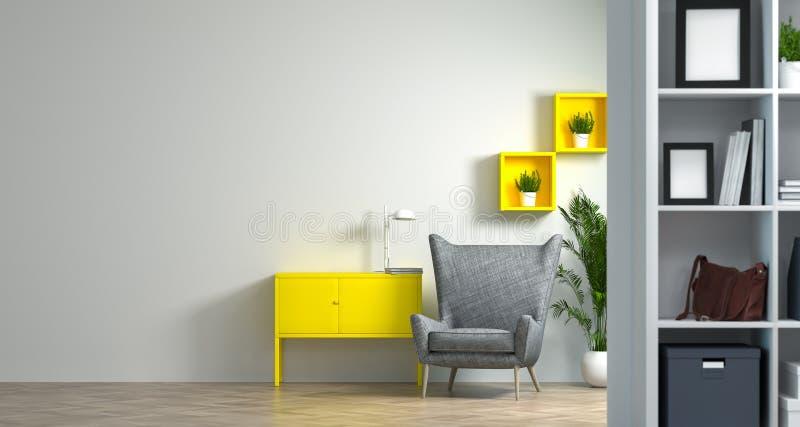 As salas de reunião modelo do escritório domiciliário da sala de estar interior da sala de visitas da decoração dos ambientes de  ilustração do vetor