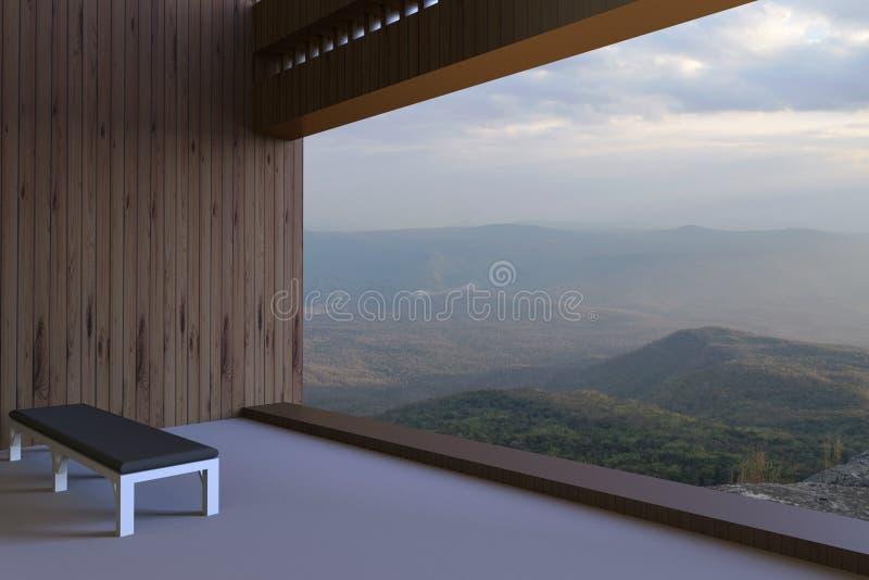 As salas modernas simples e a vista fora da janela e consideraram as montanhas e o céu bonito na manhã foto de stock