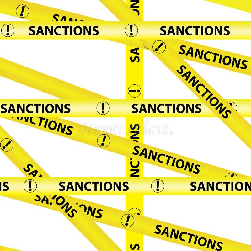 As SANÇÕES amarelas da inscrição das fitas de advertência isolaram o vetor de advertência amarelo sem emenda da fita da fita do c ilustração do vetor