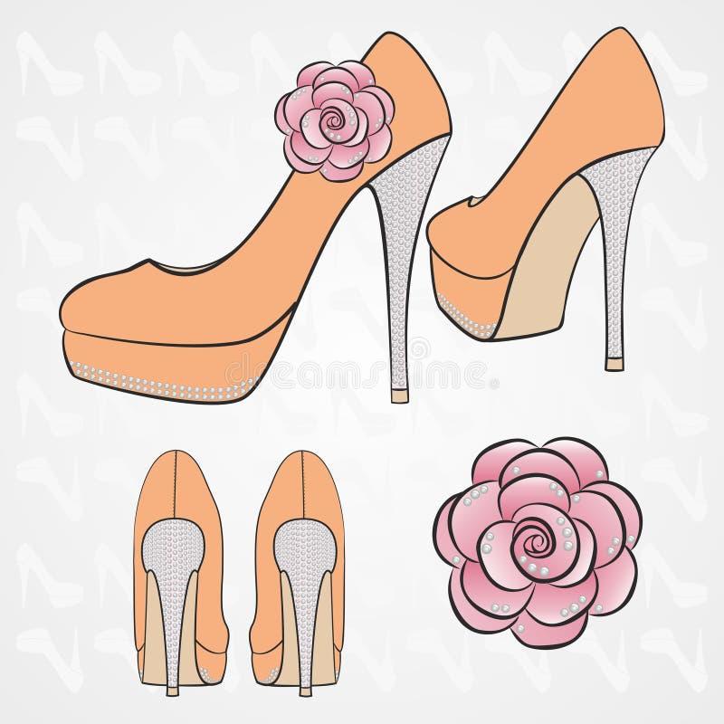 As sapatas alto-colocadas saltos das mulheres do vetor ilustração royalty free